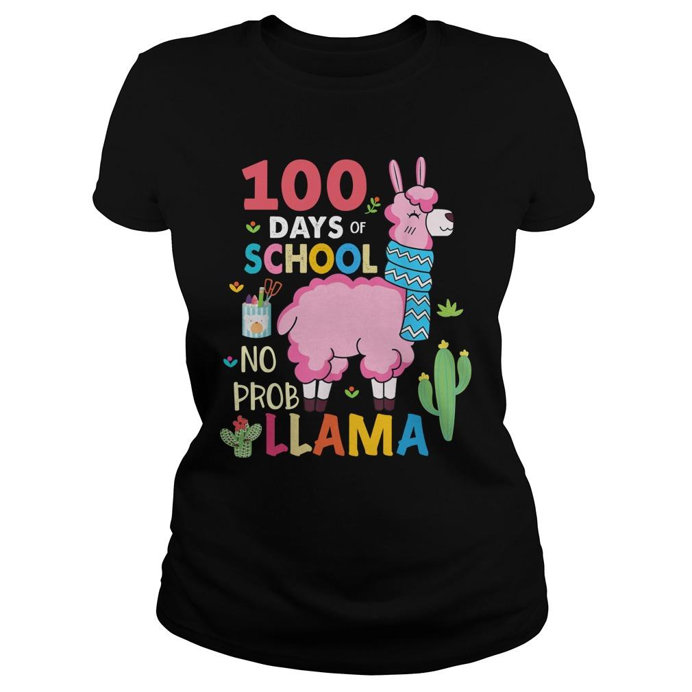 100 Days of school no probllama lady shirt