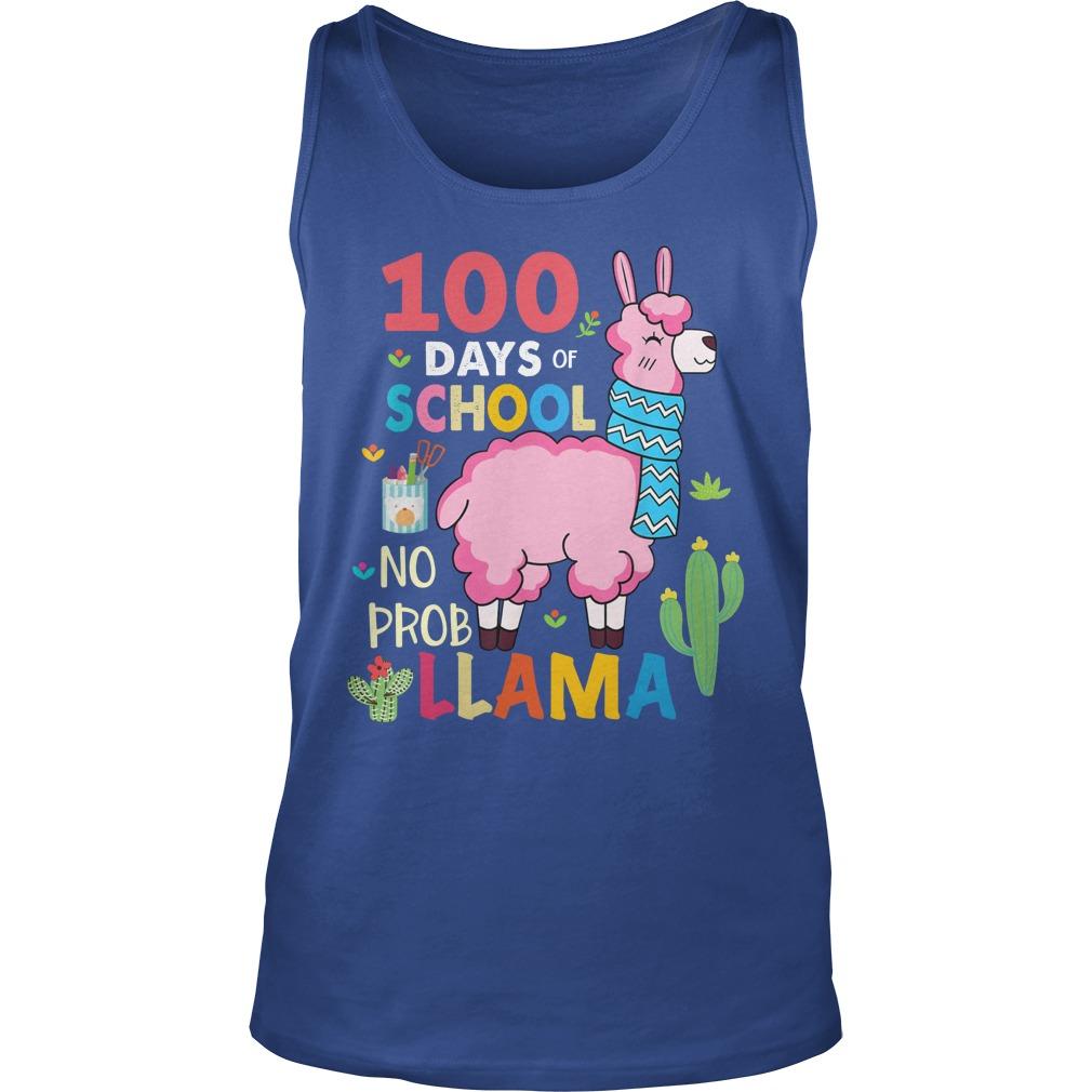 100 Days of school no probllama tank top