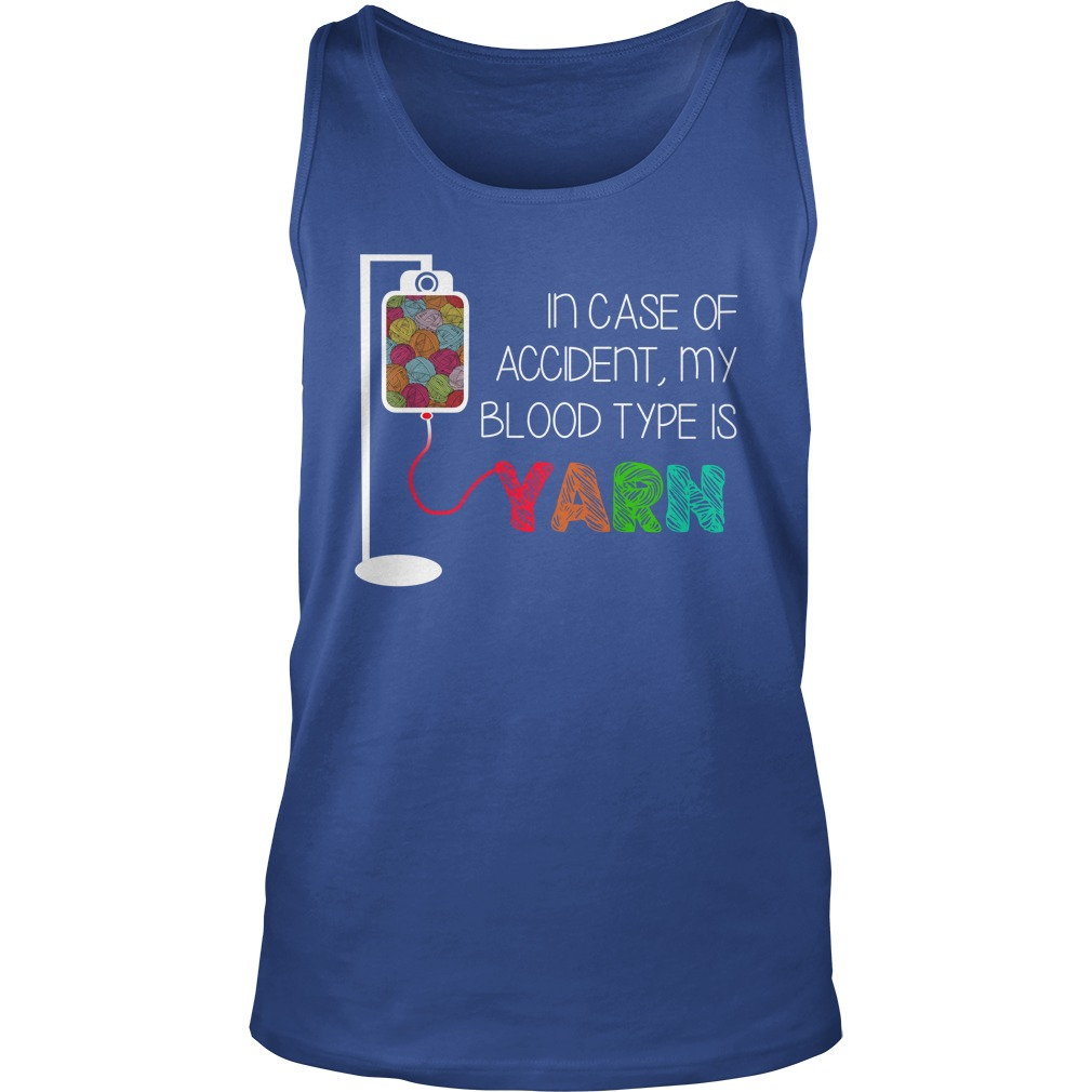 In case of accident my blood type is yarn tank top