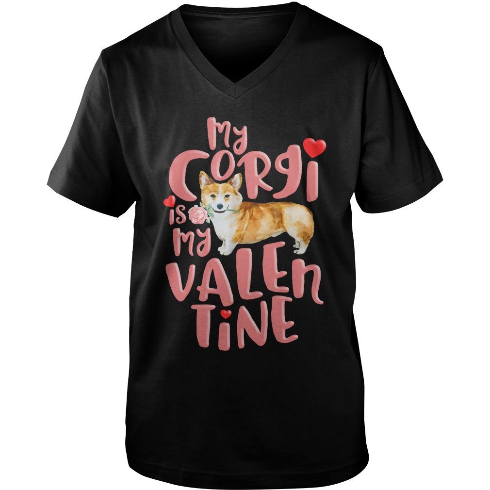 My corgi is my valentine guy v-neck