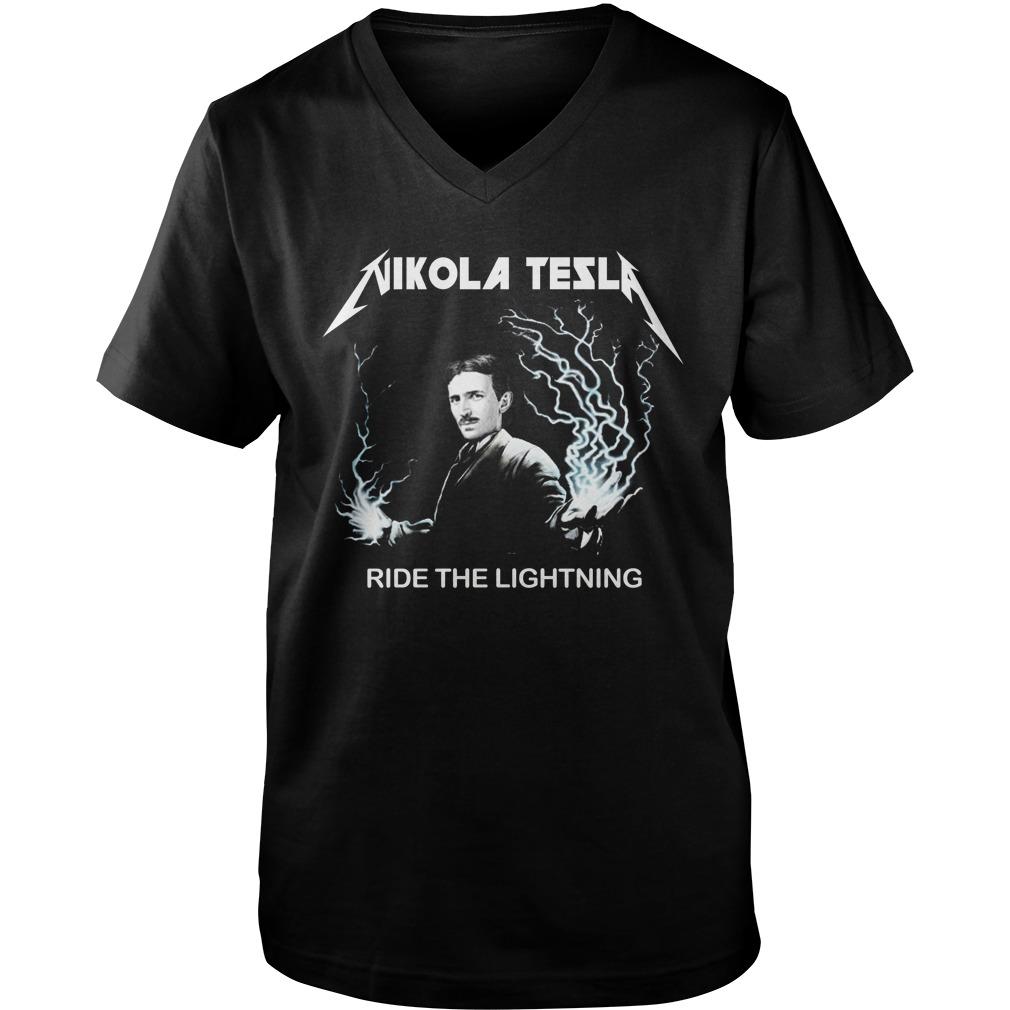 Nikola tesla ride the lightning guy v-neck