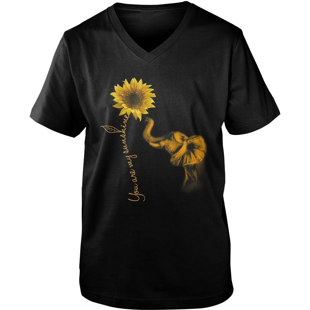 Elephants and sunflower you are my sunshine guy v-neck