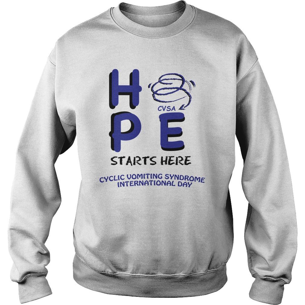 Hpe vsa starts here cyclic vomiting syndrome international day sweatshirt