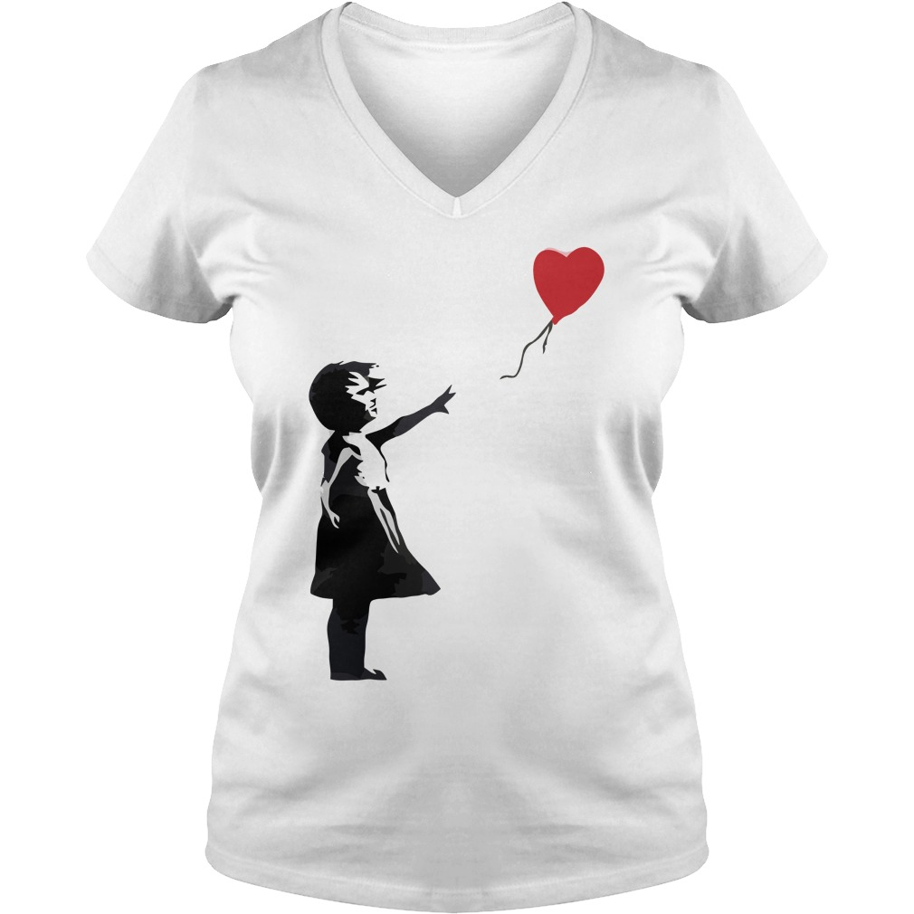 Banksy Girl with Balloon lady v-neck