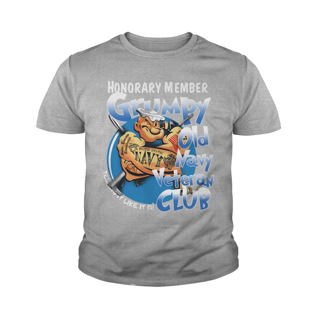 Popeye Honorary member Grumpy old navy veteran club youth tee