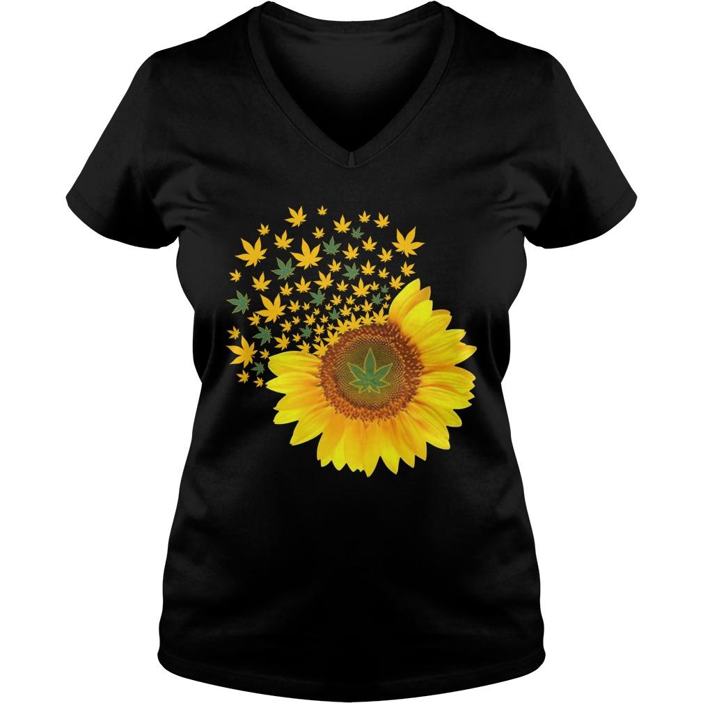 Sunflower weed smoke lady v-neck