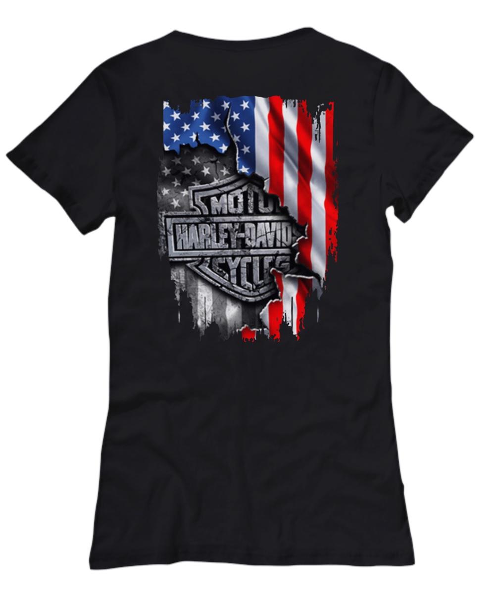 Moto harley inside me american flag lady shirt