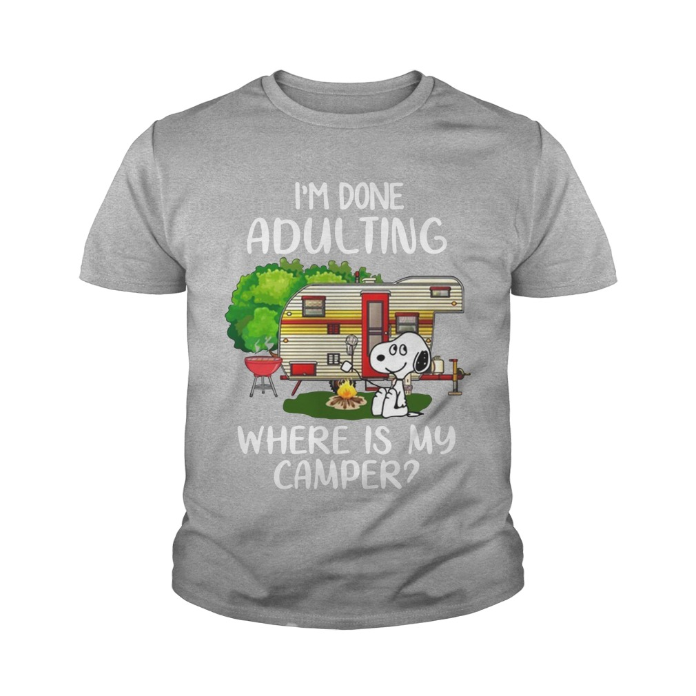 Snoopy i'm done adulting where's my camper youth tee