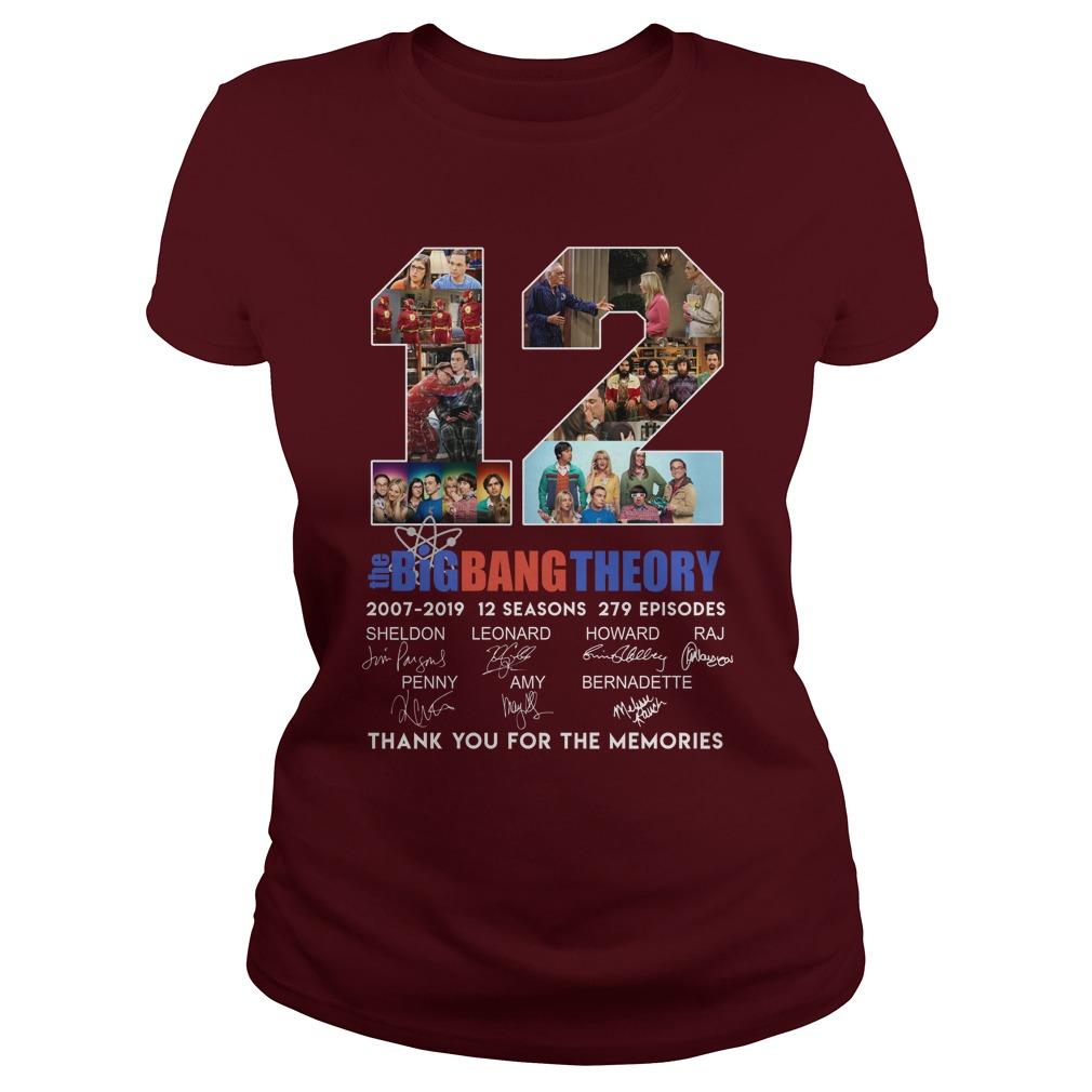 12 big bang theory thank for you the memories lady shirt