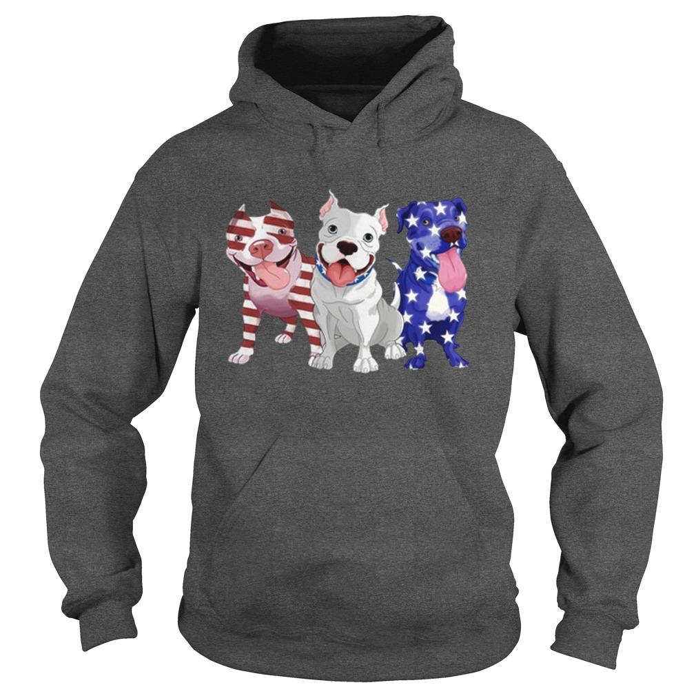 American three Pit Bull flag hoodie