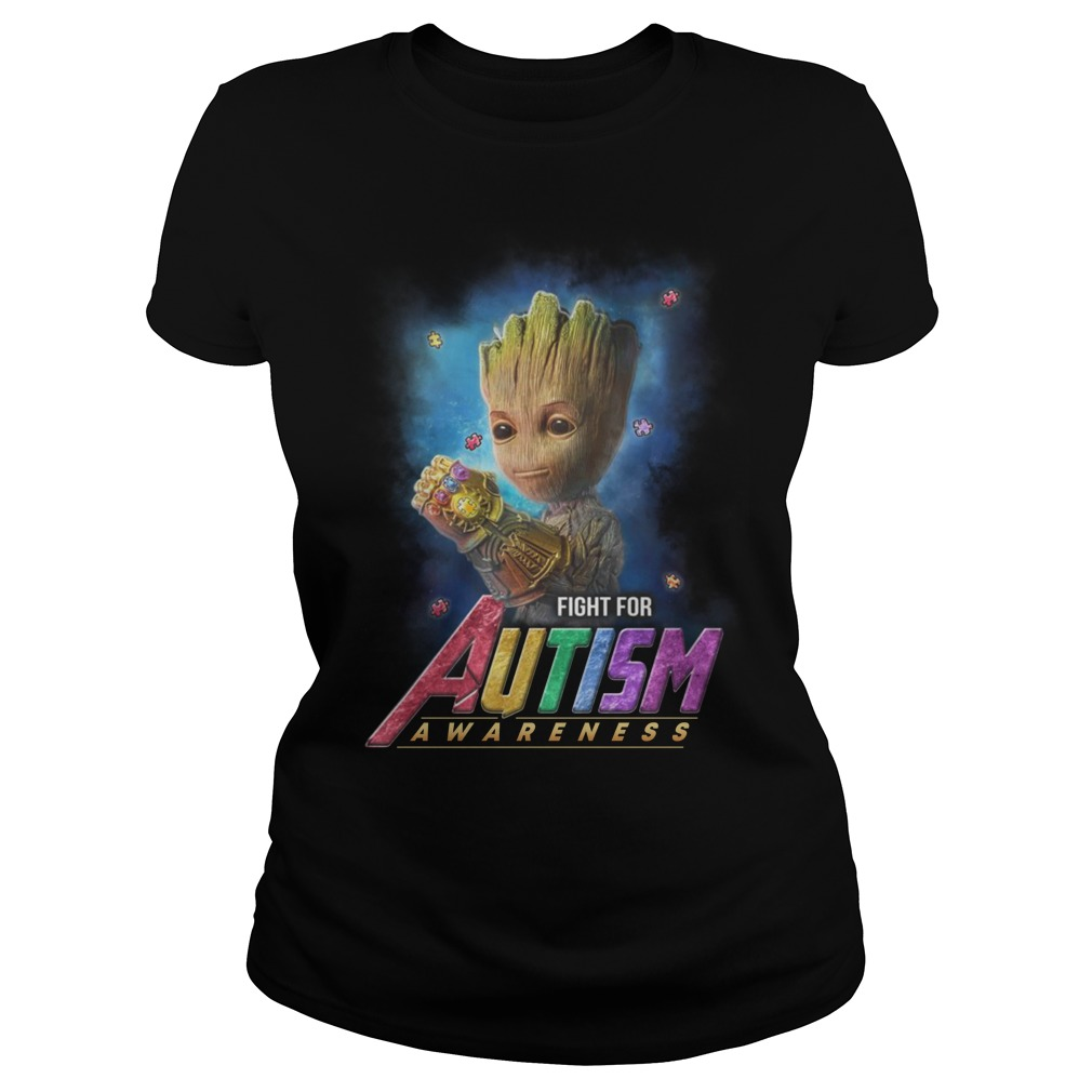 Baby groot fight for autism awareness lady shirt