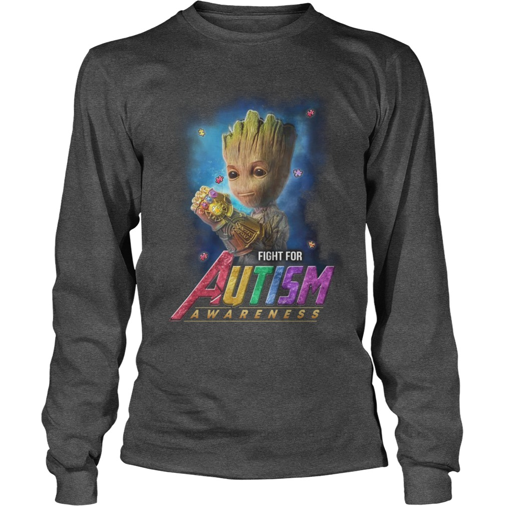 Baby groot fight for autism awareness longsleeve tee
