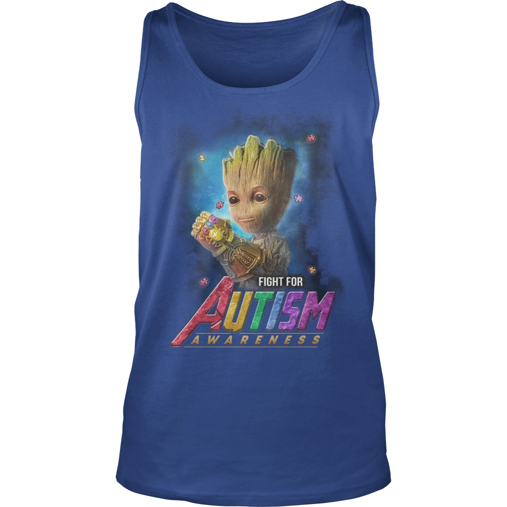 Baby groot fight for autism awareness tank top