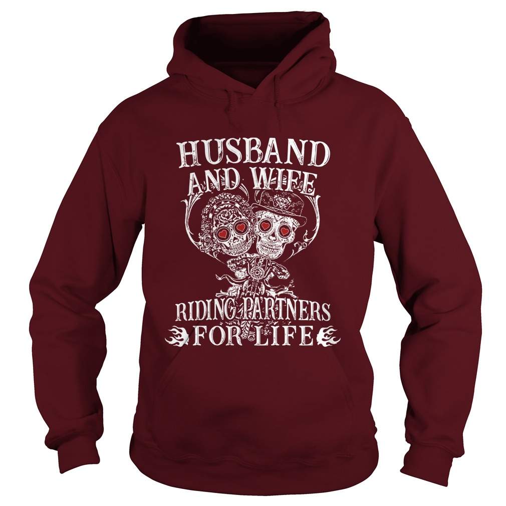 Biker skull husband and wife riding partners for life hoodie