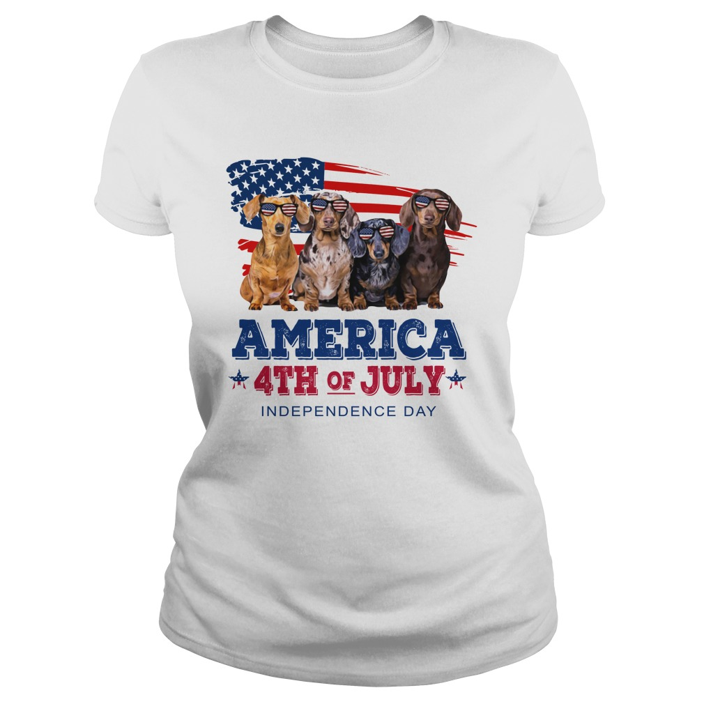 Dachshund america 4th of july independence day lady shirt