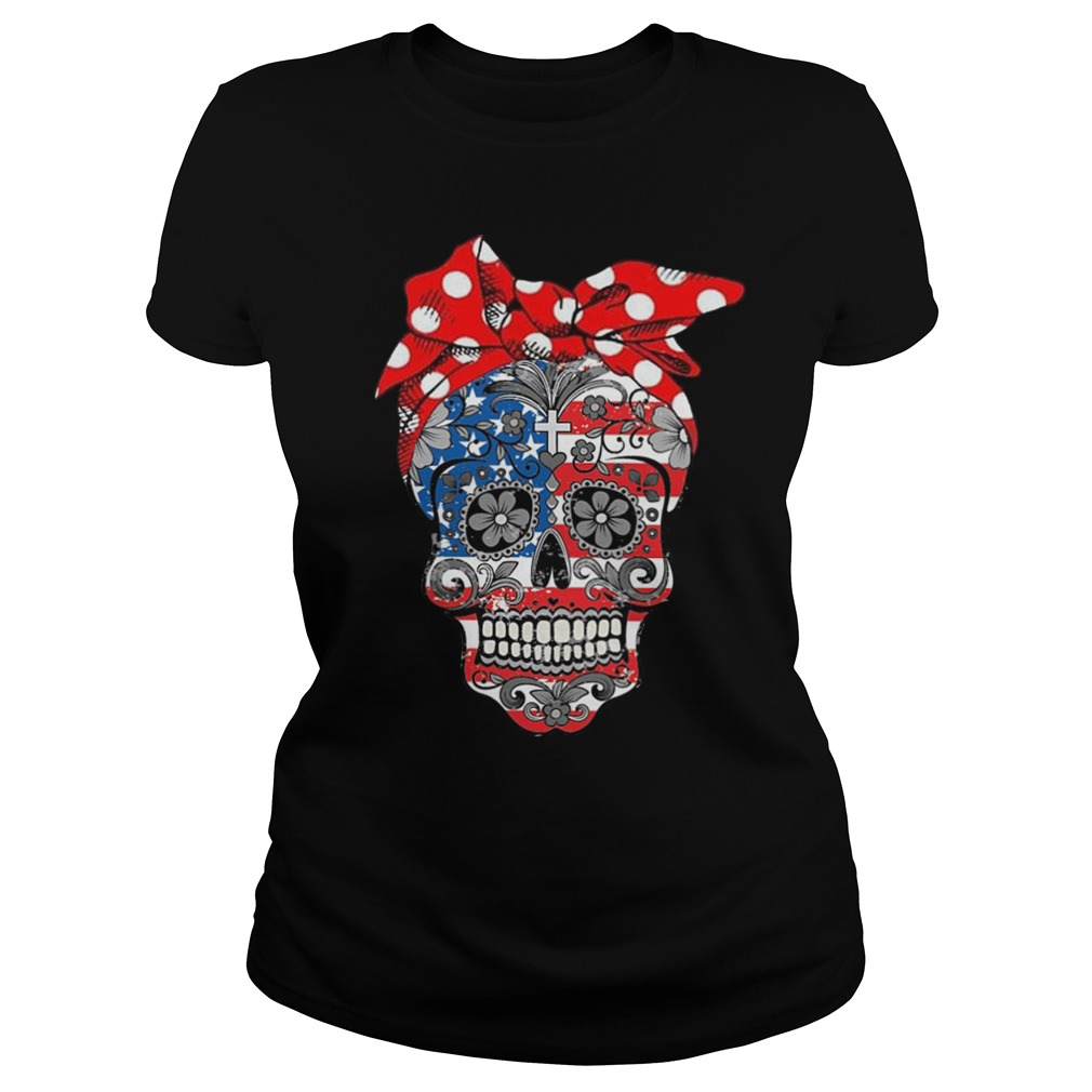 Skull american flag lady shirt