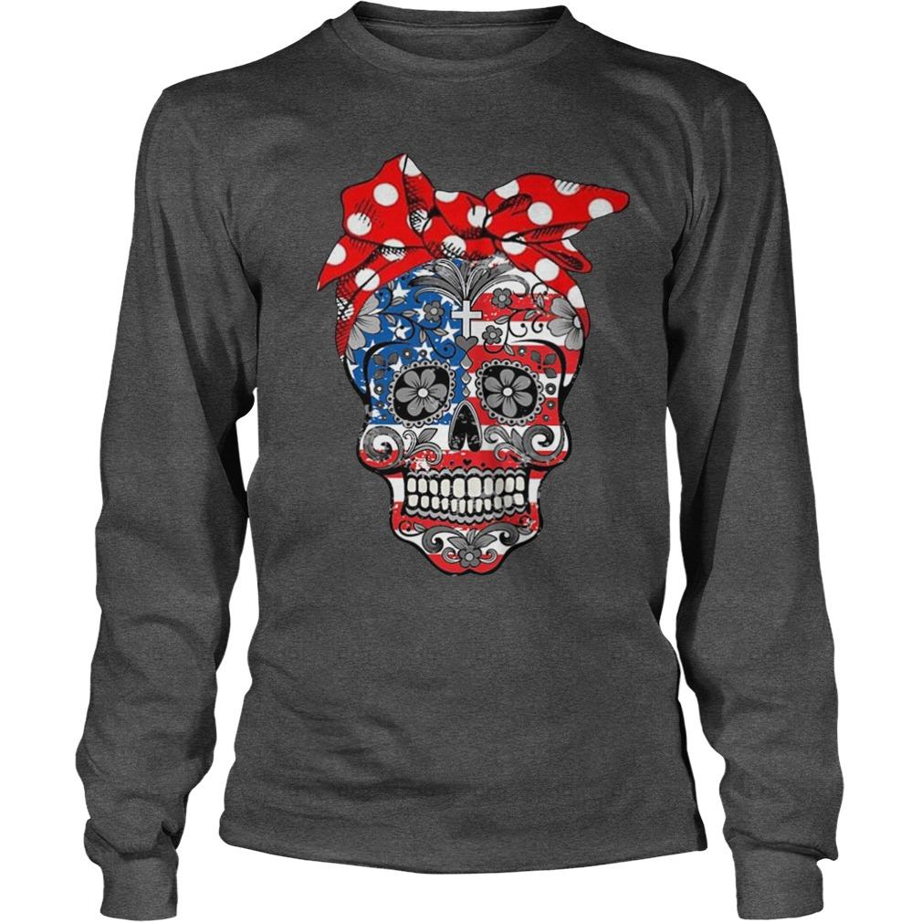 Skull american flag longsleeve tee