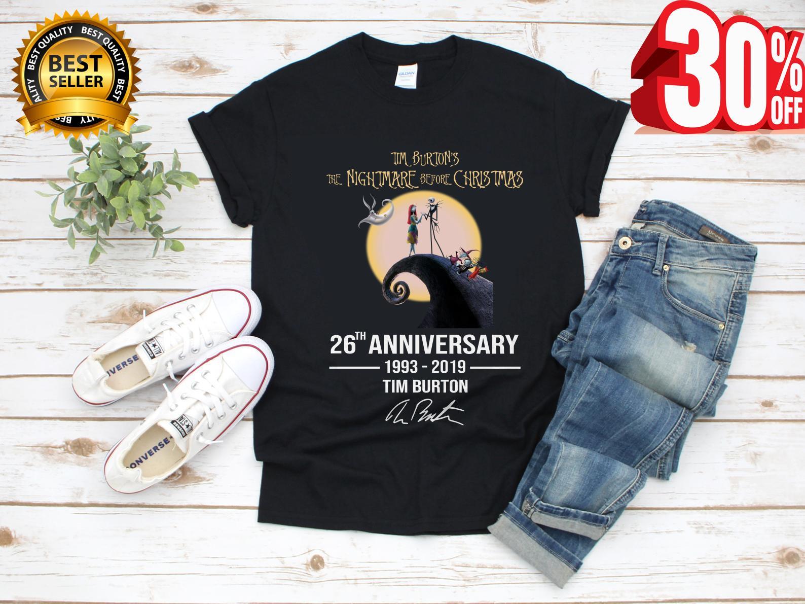 6a94a1d5 Tim Burton's the nightmare before christmas 26th anniversary 1993 2019  signature shirt
