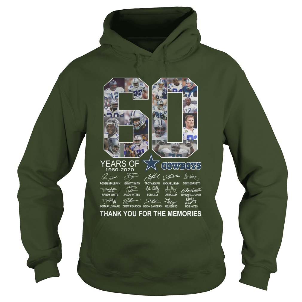 60 years of 1960 2020 cowboys signature thank you for the memories hoodie