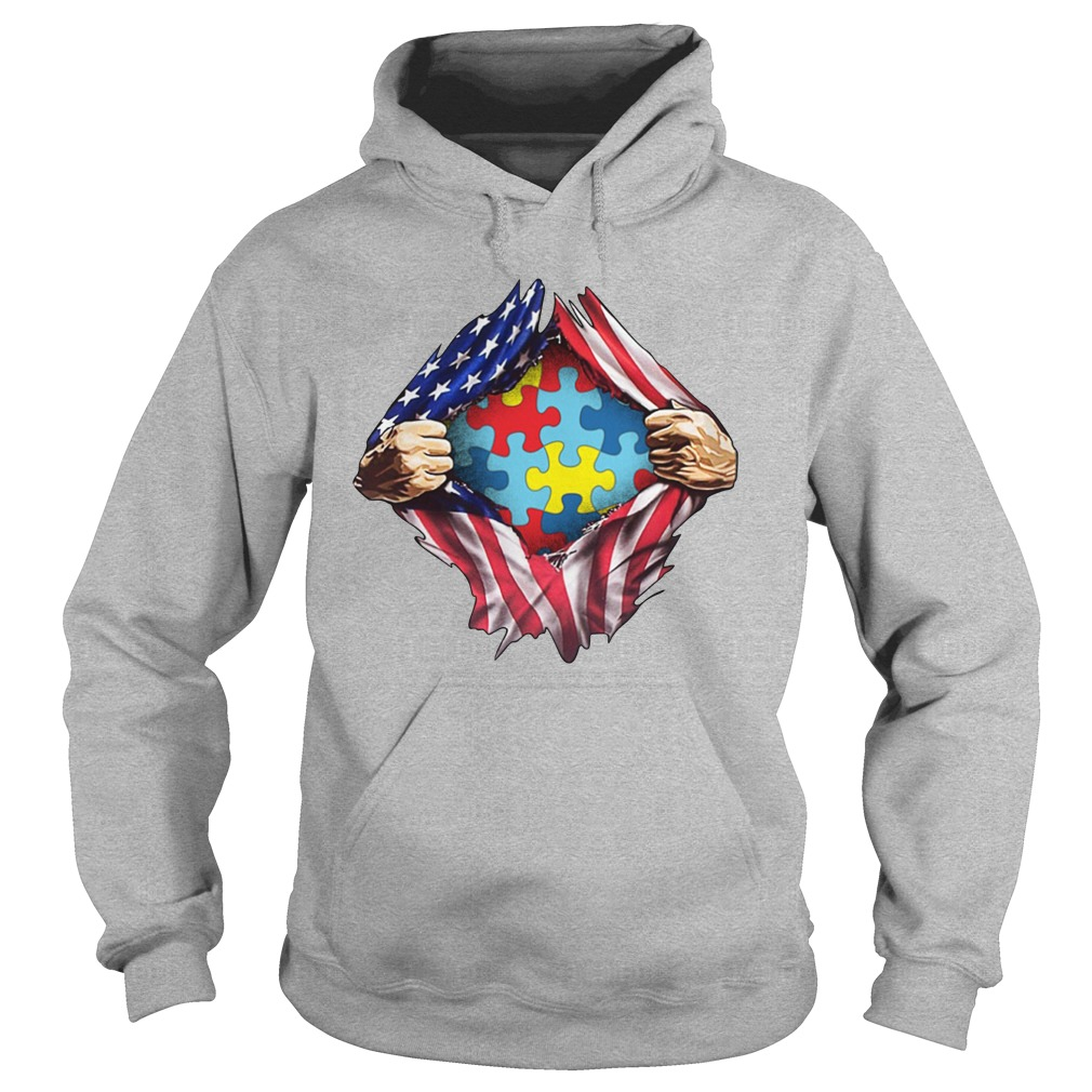Autism awareness inside American flag hoodie