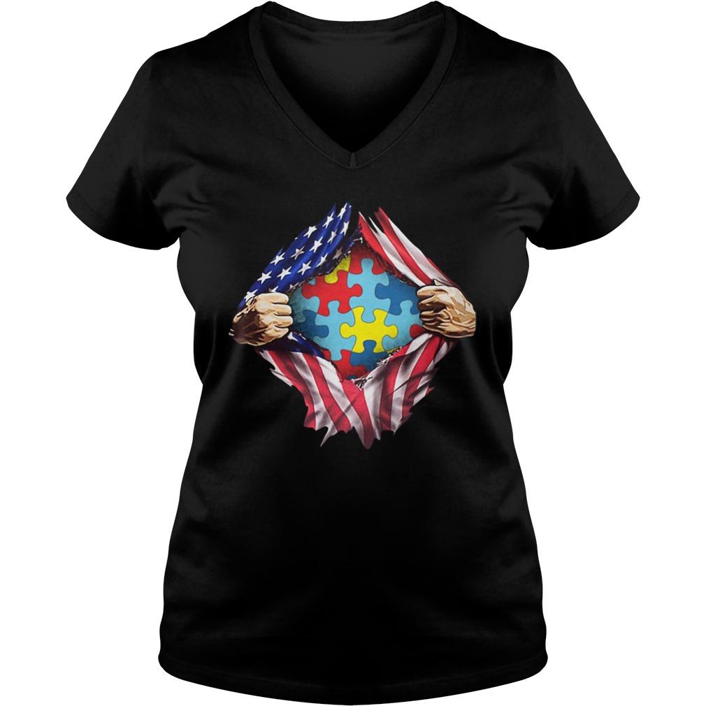 Autism awareness inside American flag lady v-neck