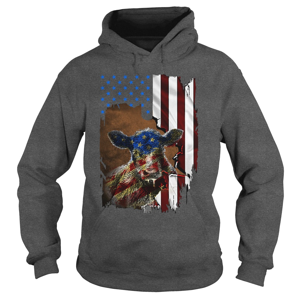 Cow and flag america hoodie