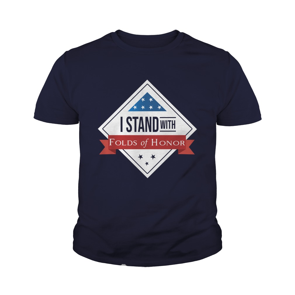 I stand with folds of honor youth tee
