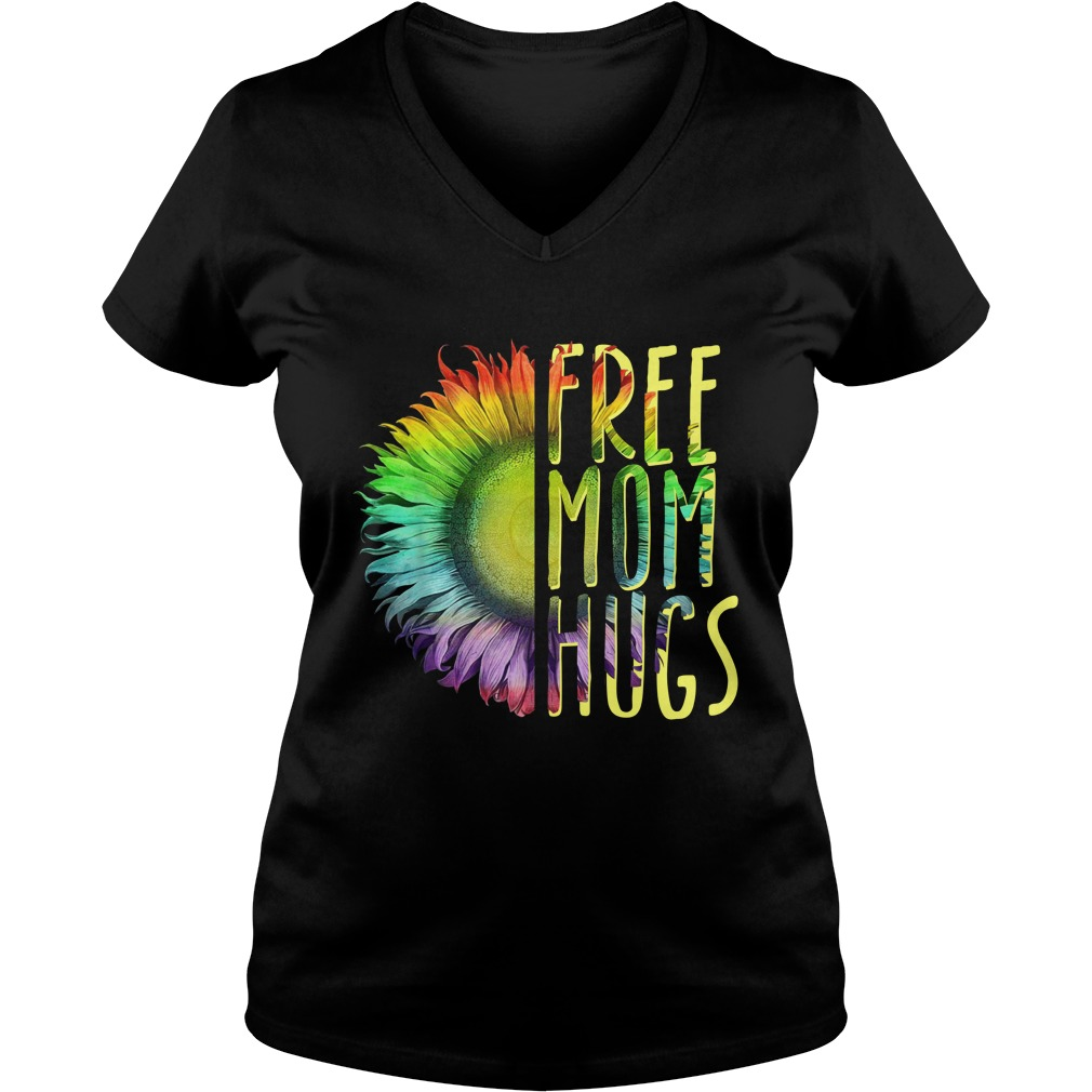 LGBT Sunflower free mom hugs lady v-neck