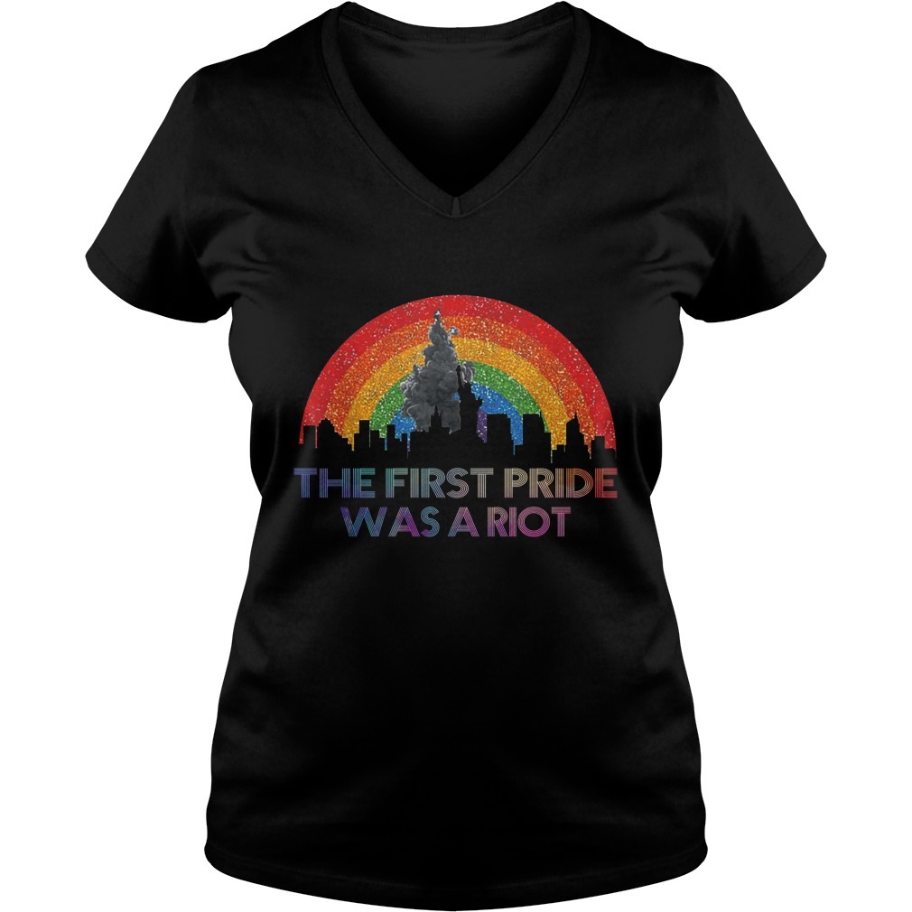 LGBT the first pride was a riot lady v-neck