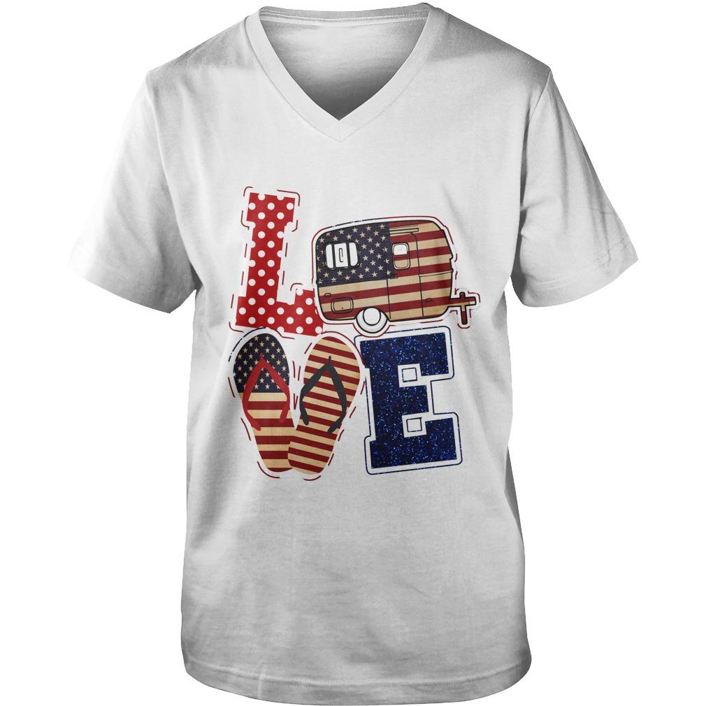 Love camping American flag guy v-neck