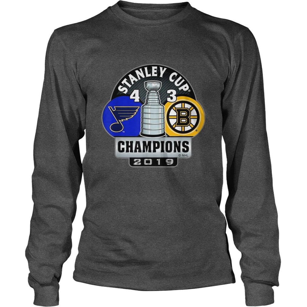 Stanley cup champions St louis blues 4 3 boston bruins longsleeve tee