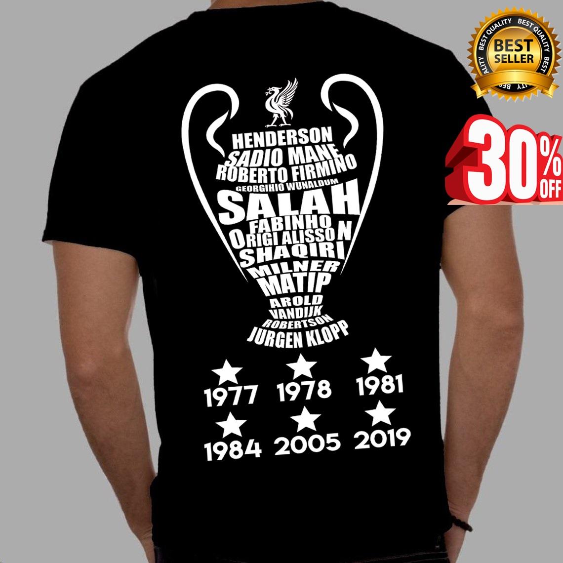 Liverpool Names T-Shirt Champions Virgil Mane Origi European Cup Salah Gift