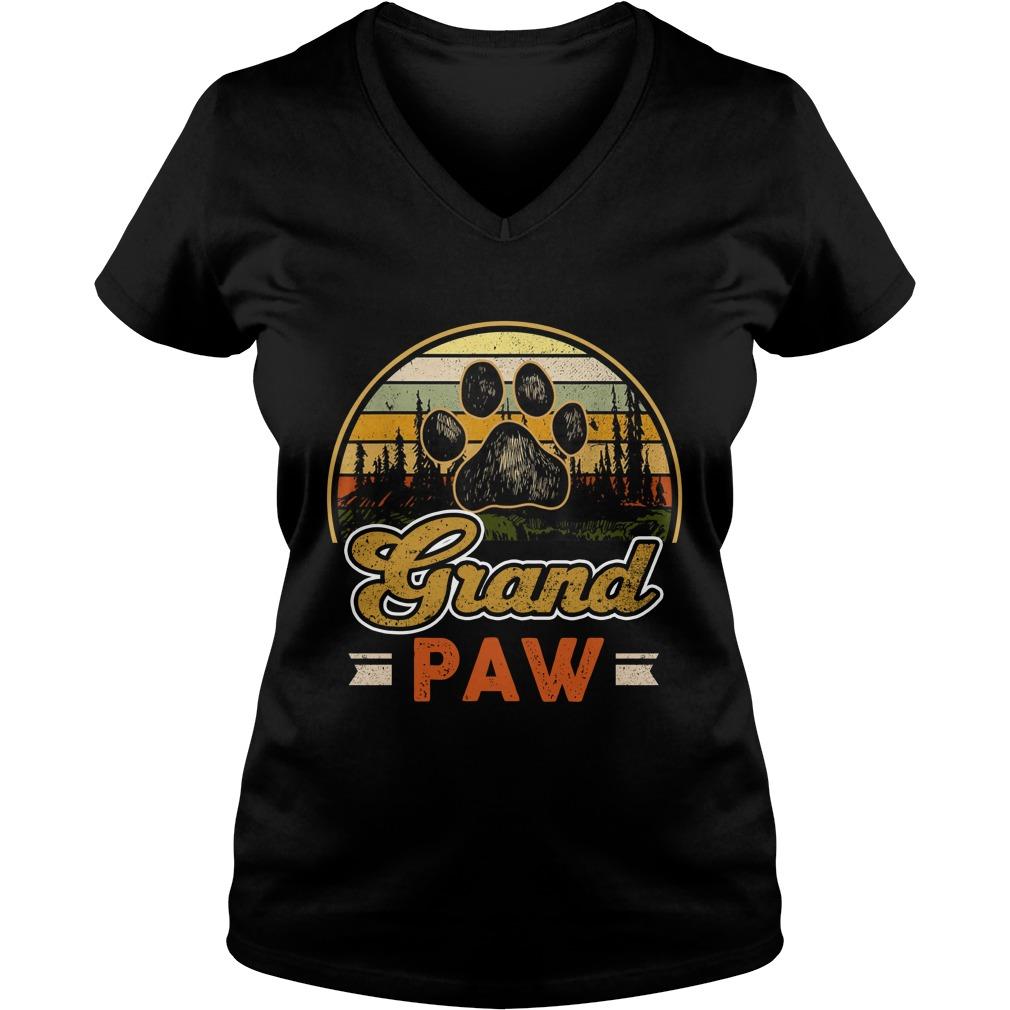 Vintage grand paw dog lover lady v-neck