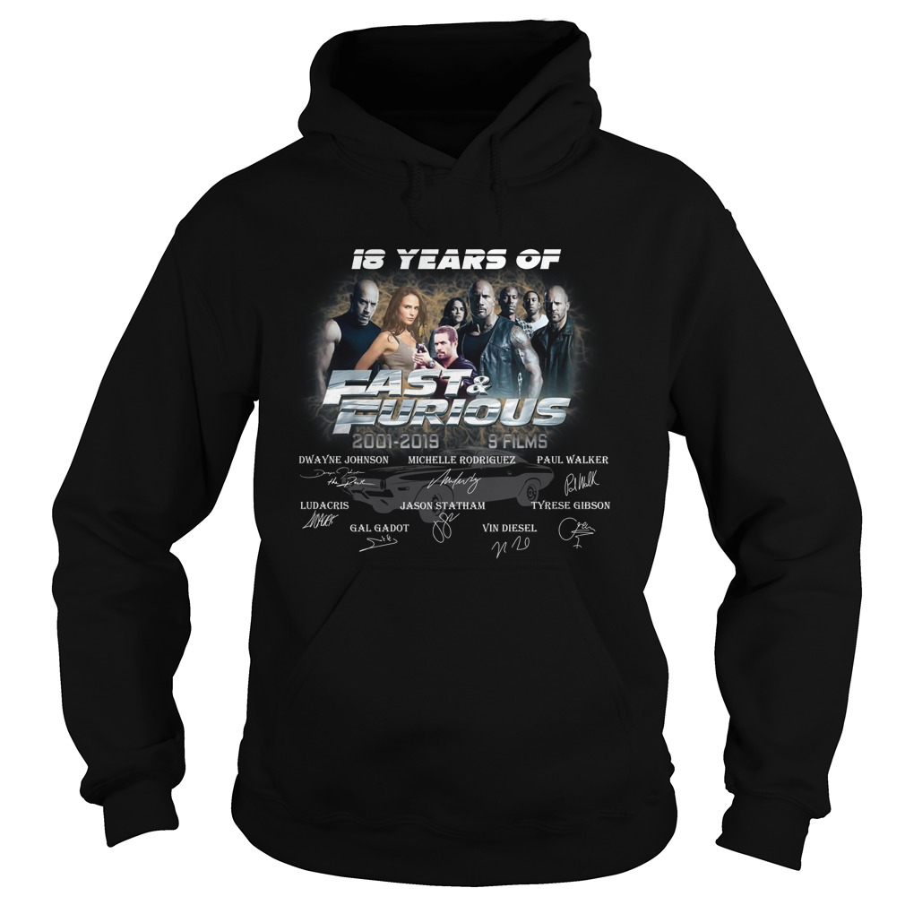 18 years of fast and furious thank you for the memories signature 2001-2019 9 films hoodie
