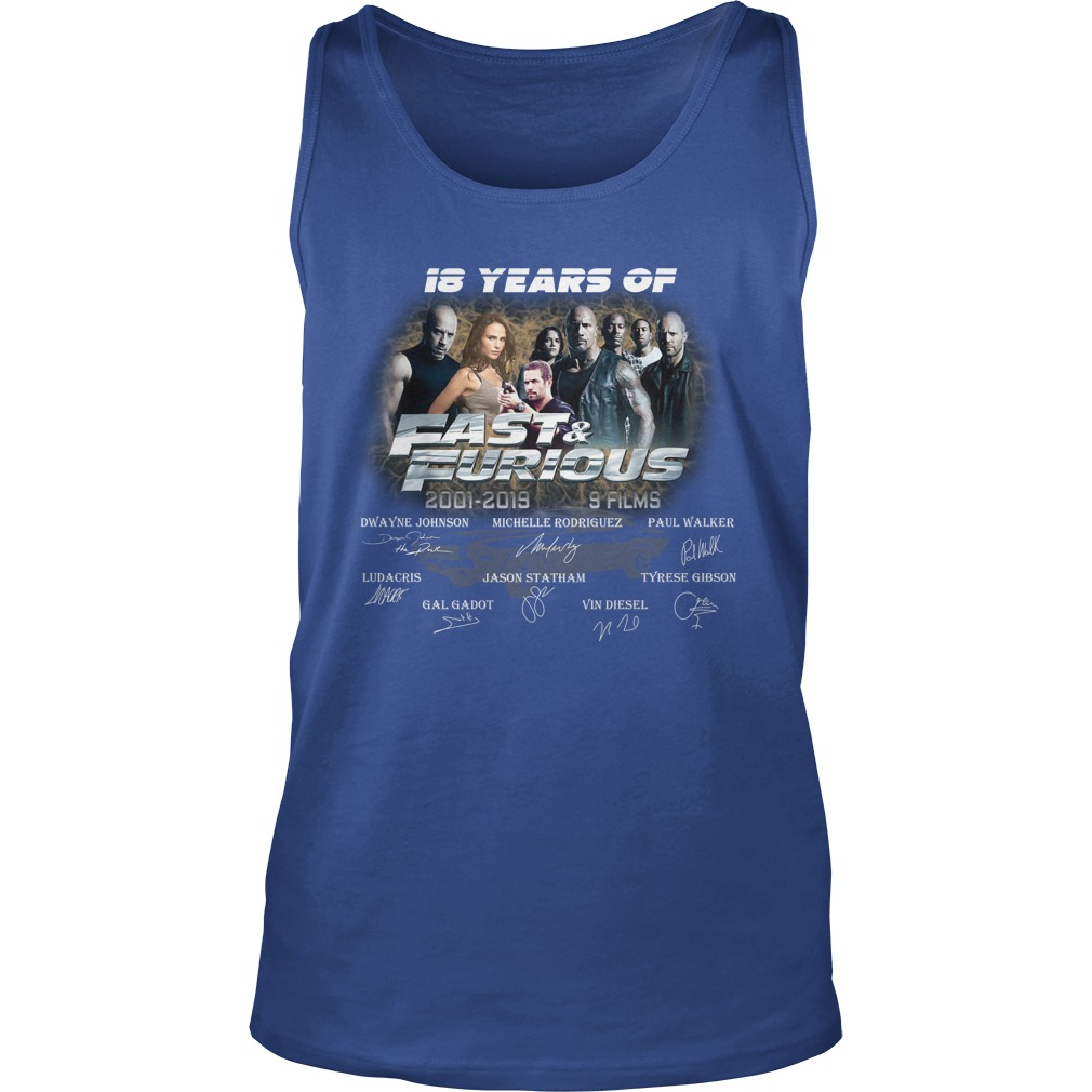 18 years of fast and furious thank you for the memories signature 2001-2019 9 films tank top