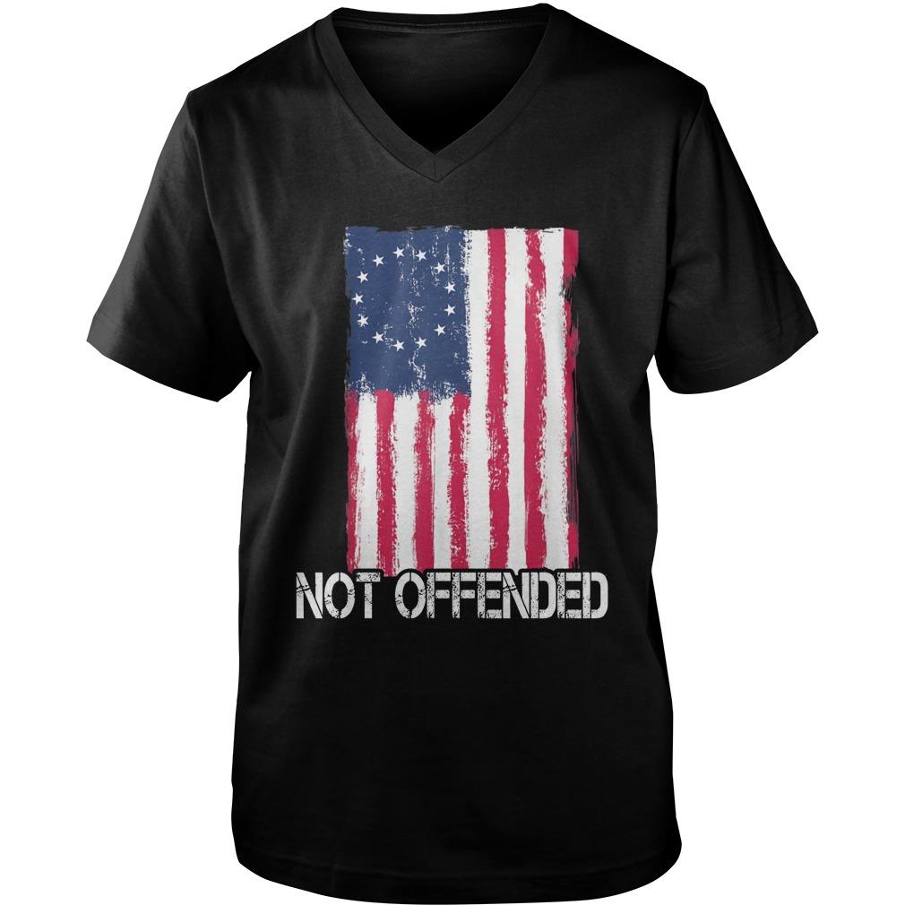 Betsy Ross Flag Not Offended guy v-neck