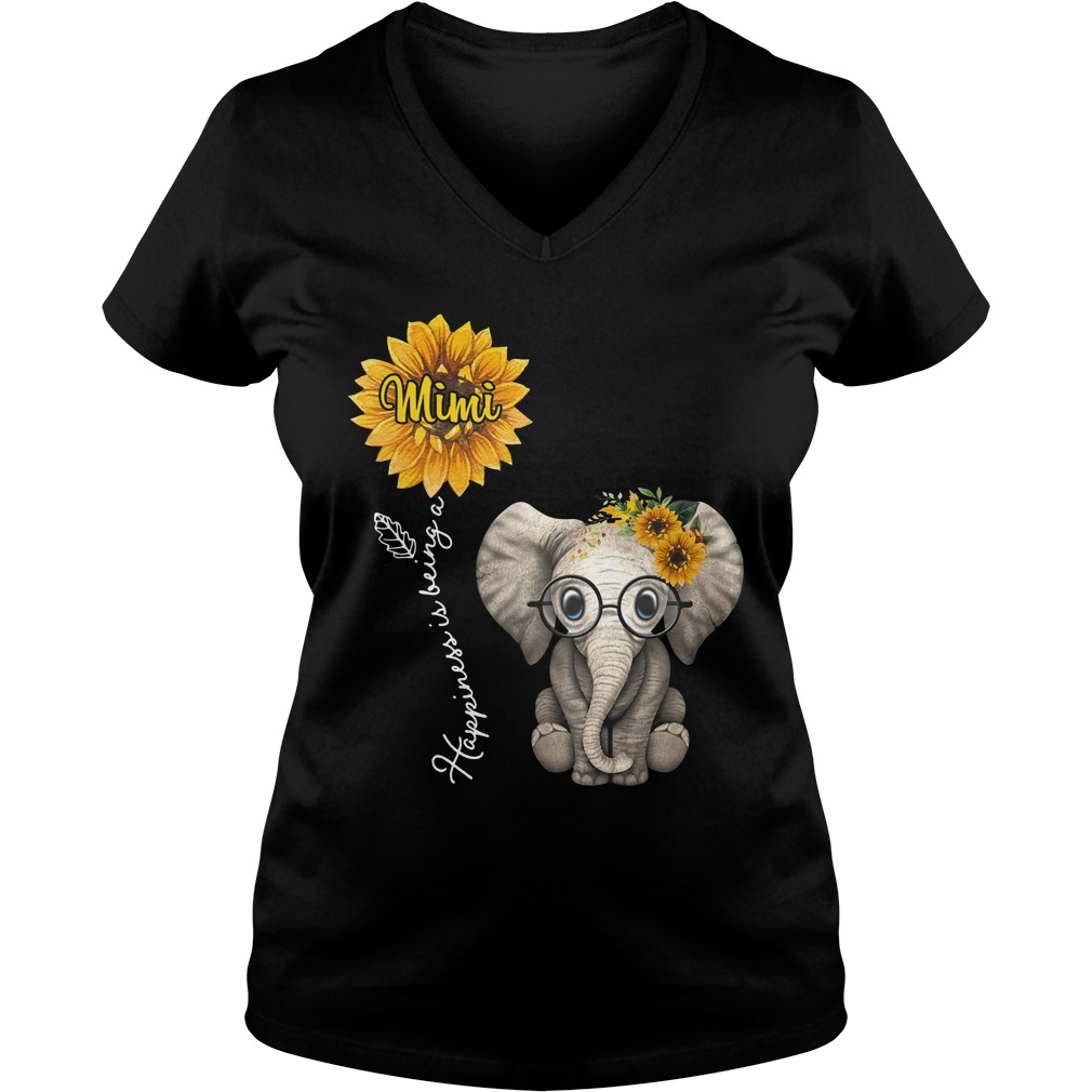Happiness is being a Mimi sunflower elephant lady v-neck