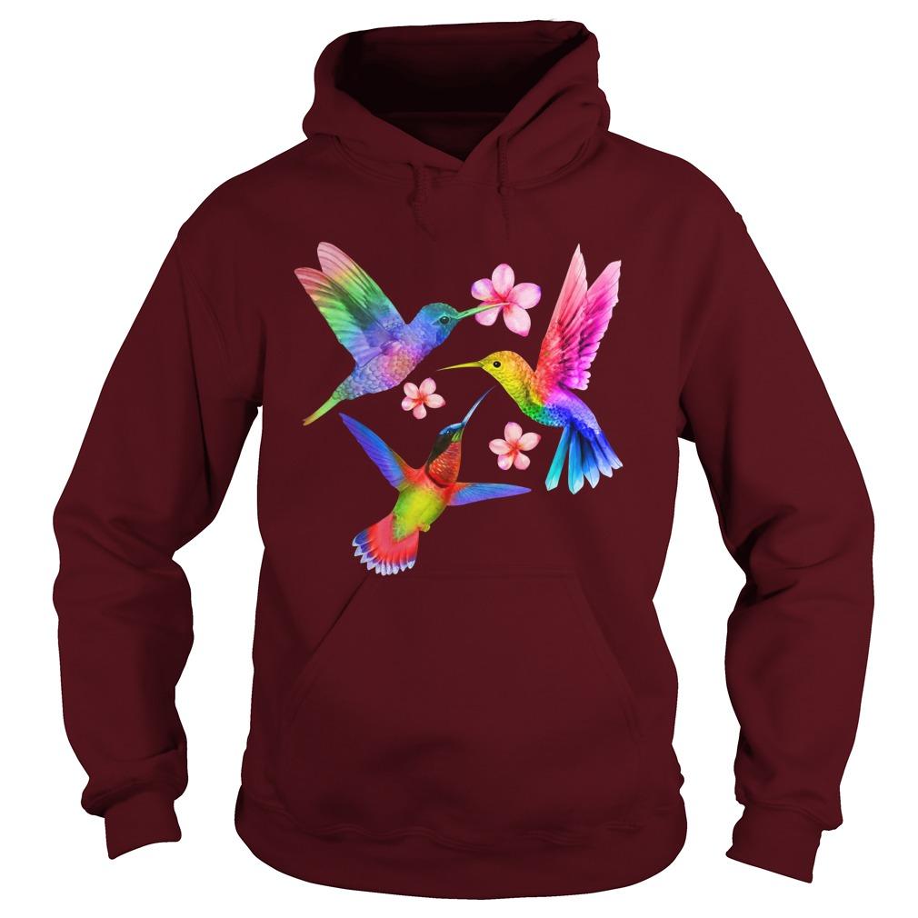LGBT three Hummingbird with flower hoodie