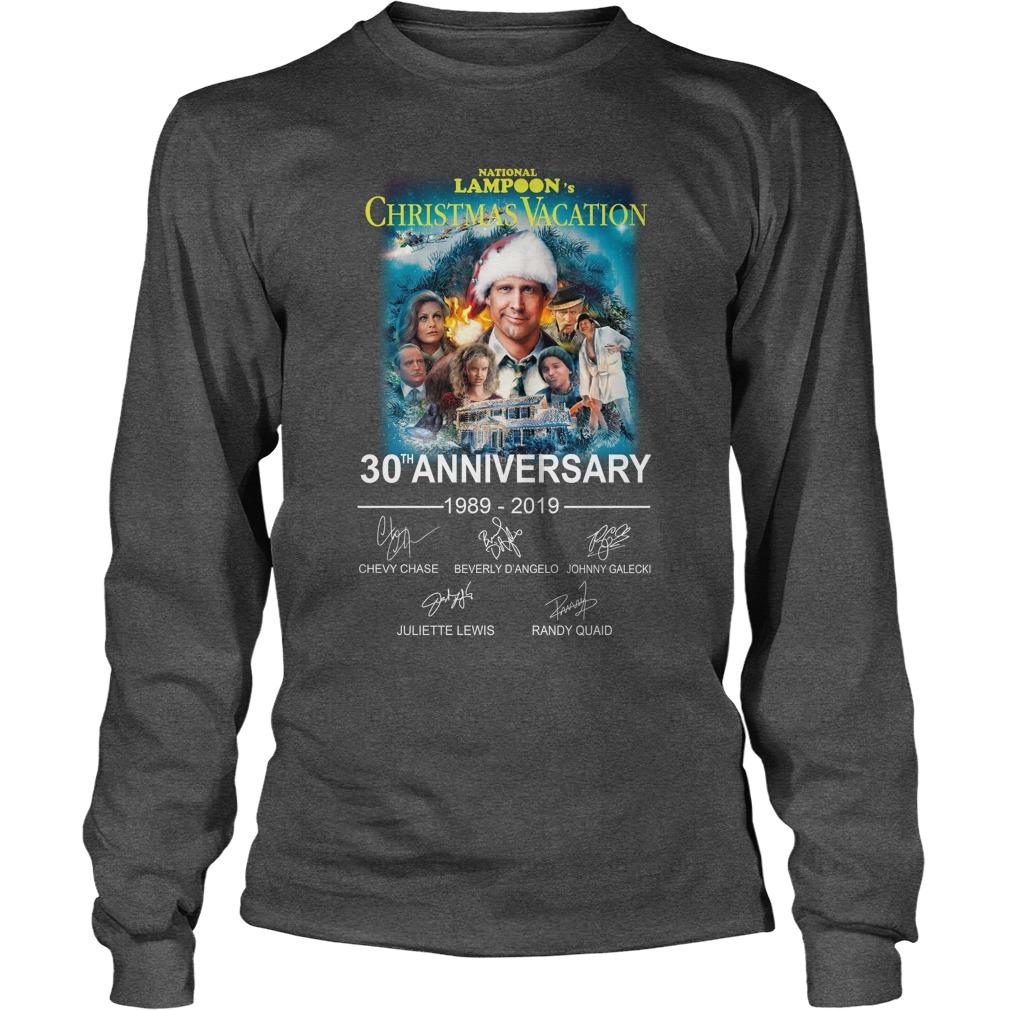 National Lampoon's Christmas Vacation 30th Anniversary 1989 2019 signature longsleeve tee