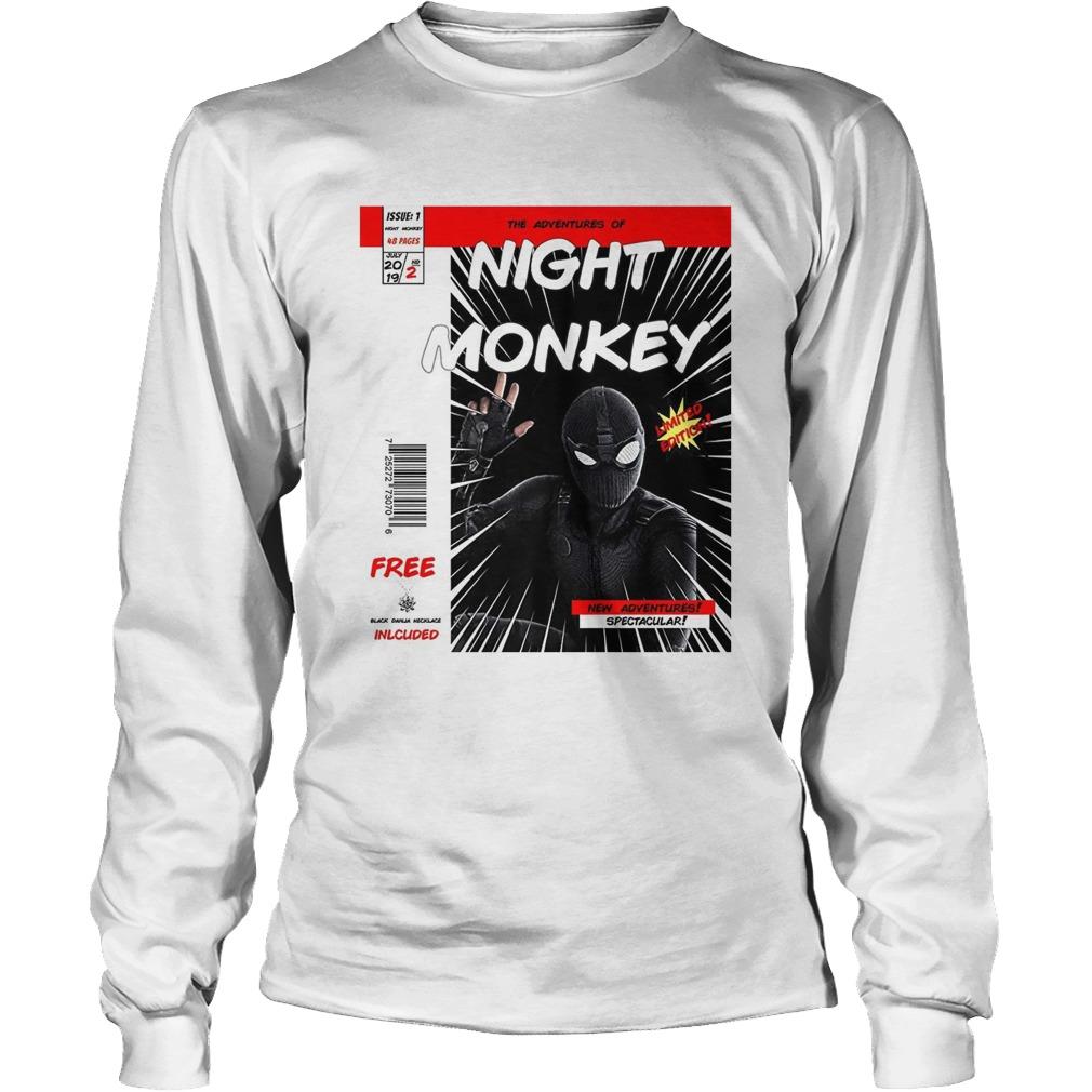 Night monkey far from home comic book longsleeve tee