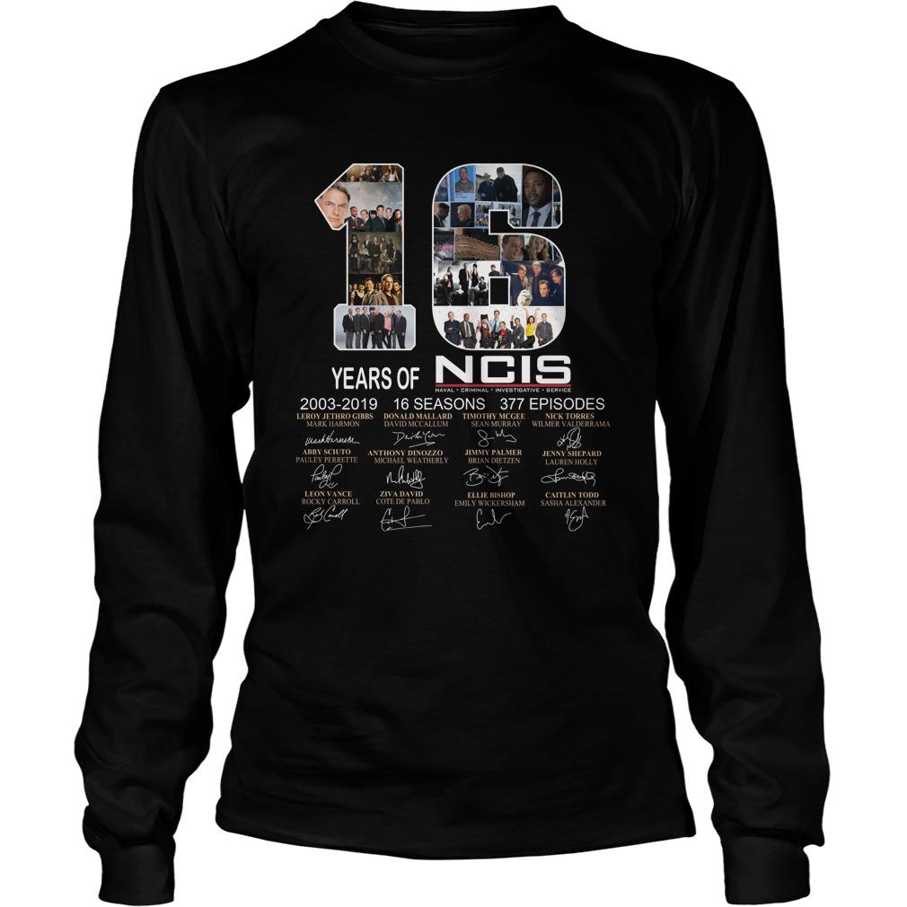Signature 16 years of NCIS 2003-2019 16 seasons 377 episodes longsleeve tee