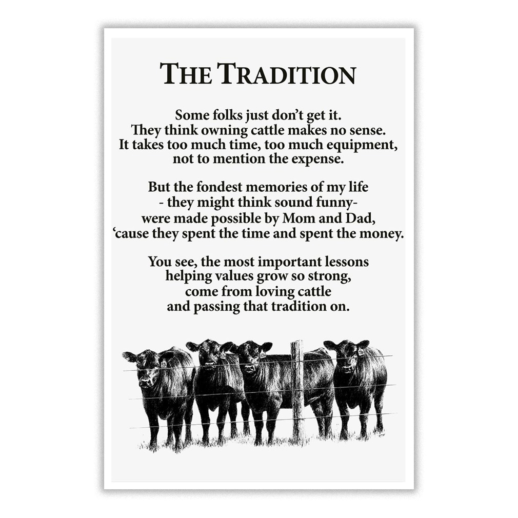 The tradition cow poem poster