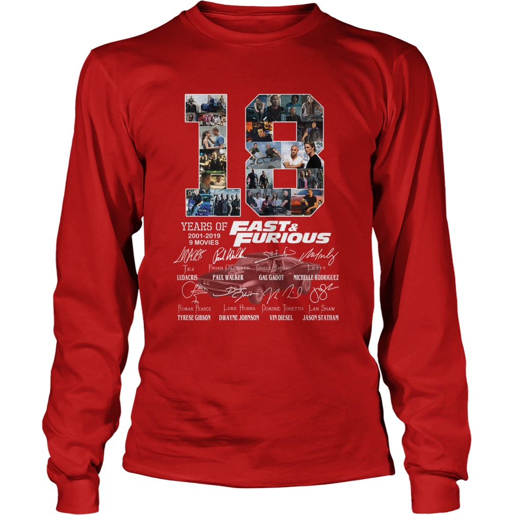 18 year of fast and furious longsleeve tee