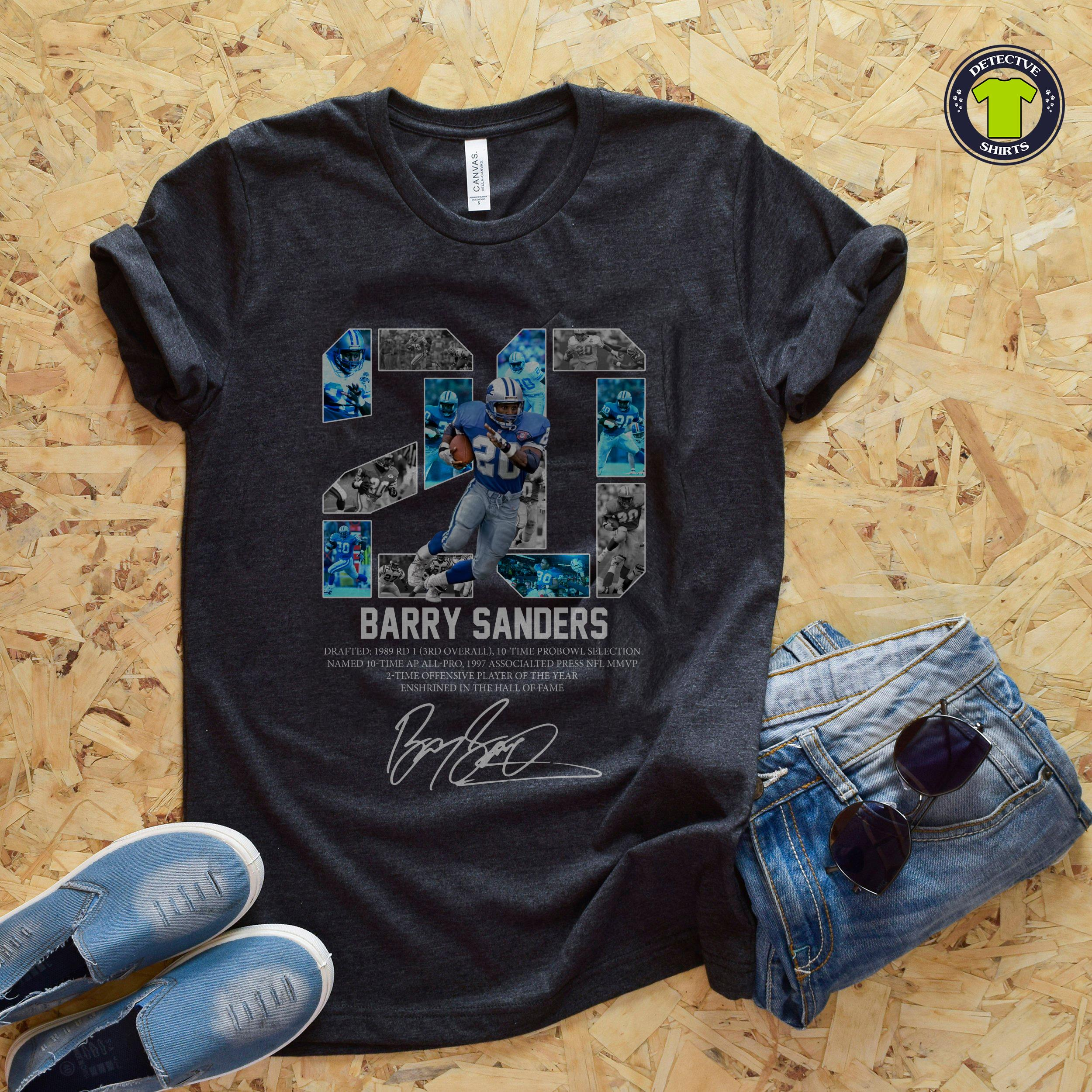 37e00cb4 20 Barry Sanders detroit lions hall of fame signature shirt, hoodie, tank  top