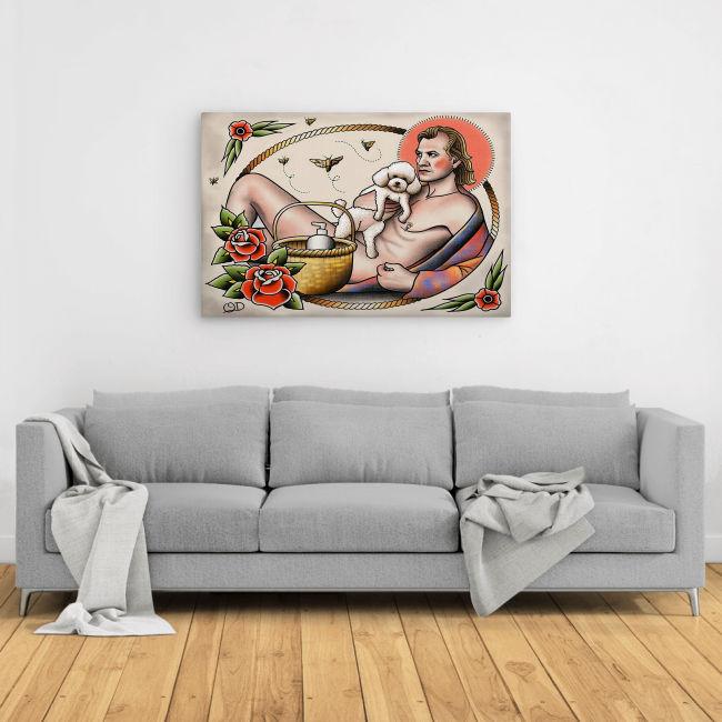 A naked man hugs Bichon Frise poster