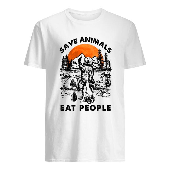 Bear camping save animal eat people men's shirt