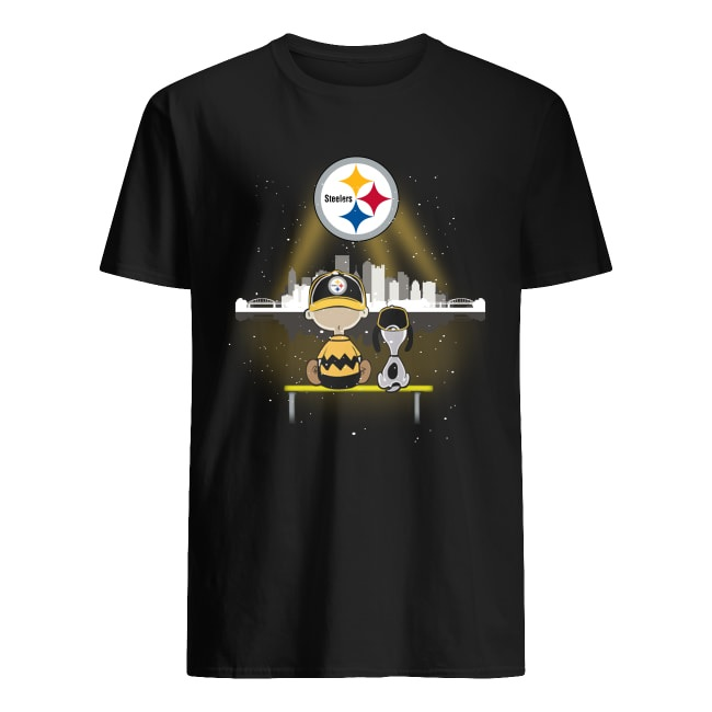 Charlie Brown and Snoopy watching Pittsburgh Steelers logo men's shirt
