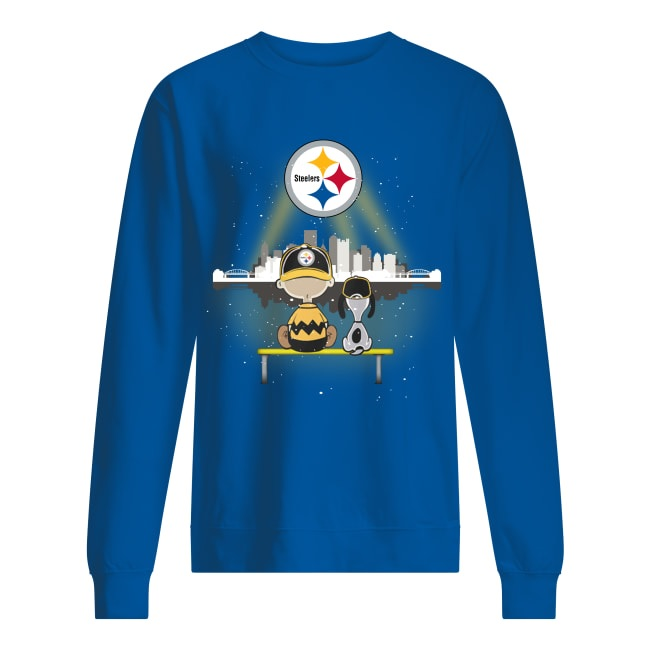 Charlie Brown and Snoopy watching Pittsburgh Steelers logo sweatshirt