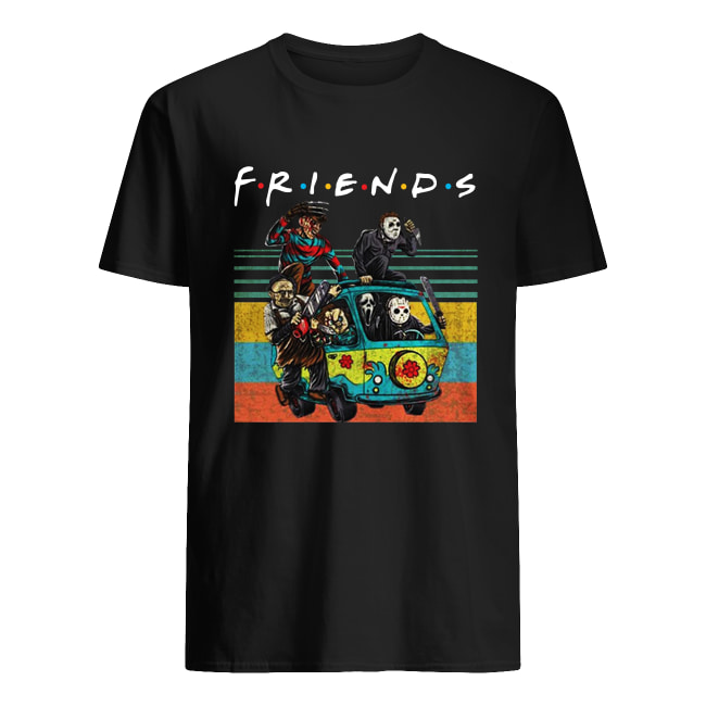 Horror movie characters on Scooby Doo car Friends TV show men's shirt