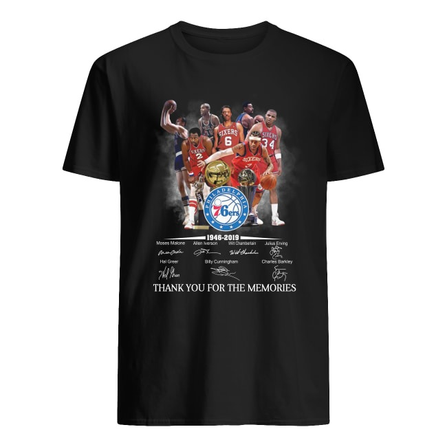 Philadelphia 76ers 1946-2019 thank you for the memories signature men's shirt